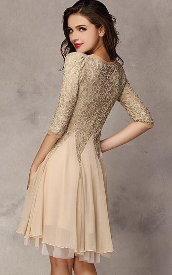 Khaki Half Sleeve Chiffon Dress