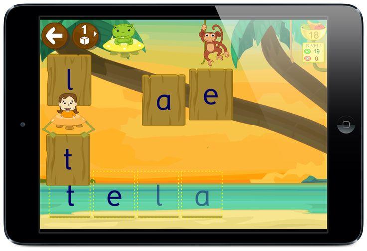 LEO CON GRIN: aprender a leer desde la tableta o el móvil ya sea Android o Apple. #juegos #monos #app #letras #silabas #palabras #Grin #palabras
