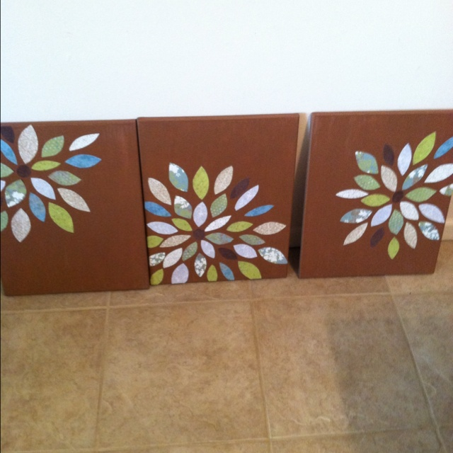 Easy Wall Decoration With Paper : Easy wall decor made from a canvas and scrapbook paper
