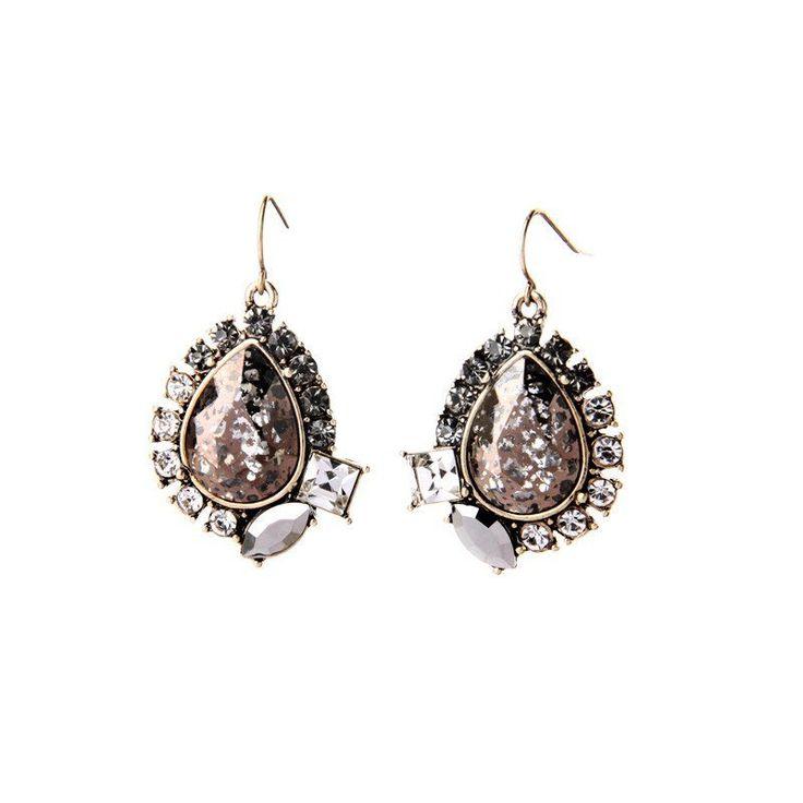 Fashion Drop Earrings - Zabel Gold Plated Drop Earrings With Waterdrop Design Rhinestones