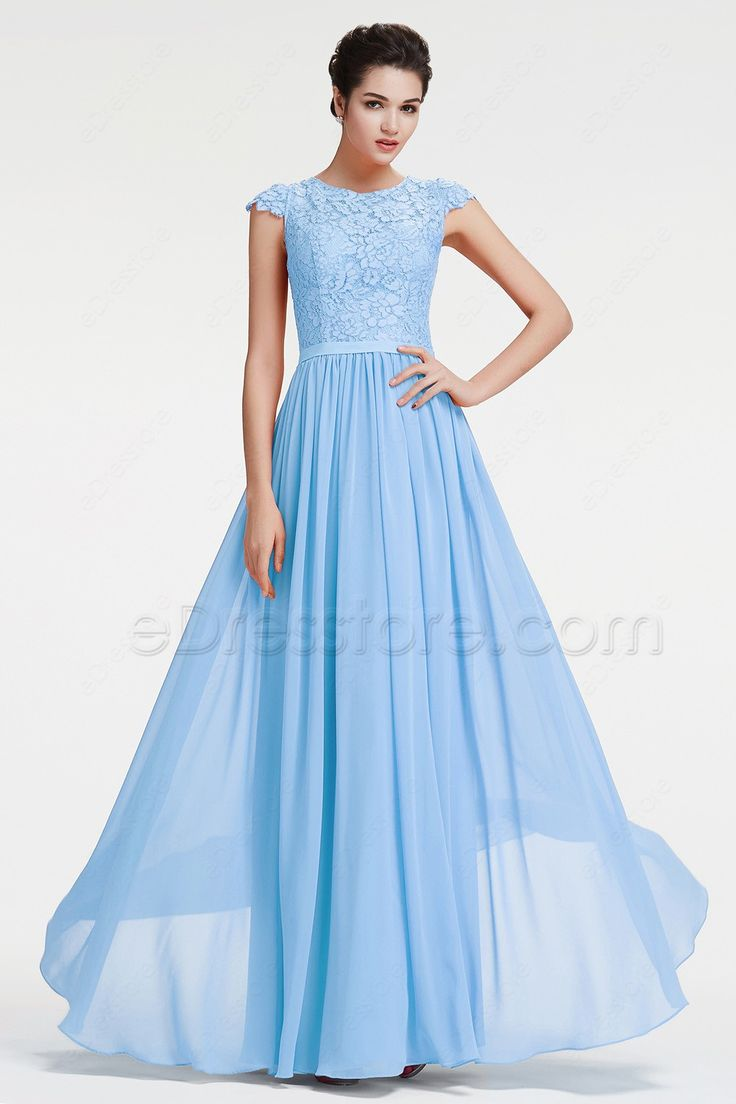 The ice blue prom dress features O neckline, the top is ...