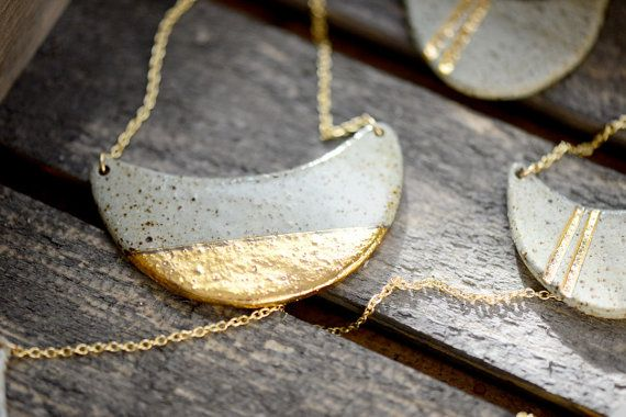 22k Gold Dipped Wave – Stone, Stoneware, Ceramic jewelry, minimalist jewelry, Porcelain and Stone – Porcelain and Gold