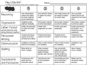 FREEBIE Hey, Little Ant Opinion/Persuasive Writing