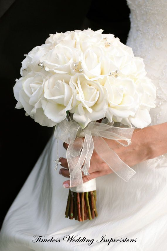 Bridal Bouquet White Roses Real Touch Silk by TimelessWedding, $150.00