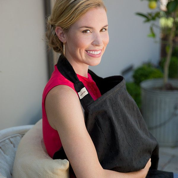 Bébé au Lait breastfeeding covers feature a rigid neckline, adjustable neck strap, and two wonderfully soft terry cloth pockets simplify breastfeeding in public so that everyone - mum, baby, and present company - can carry on whenever, wherever baby needs nourishment. Chic and always in style, Black Eyelet is the little black dress of breastfeeding covers.  It is all black and double-layered with a delicate eyelet pattern engraved in the top.
