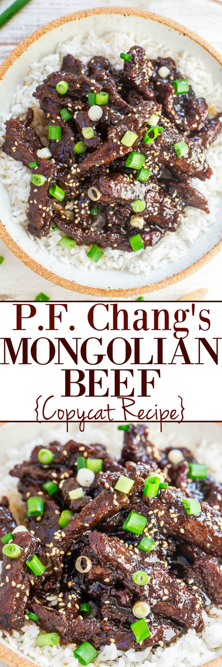 P.F. Chang's Mongolian Beef (Copycat Recipe) - Make the restaurant favorite AT HOME in 20 minutes!! EASY and it has so much FLAVOR! Tastes even BETTER than the restaurant version!!