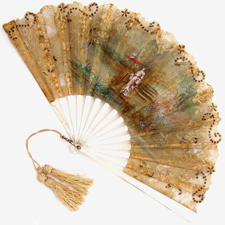 Antique 19c French Mother of Pearl Fan Artist Signed Hand Painted Silk