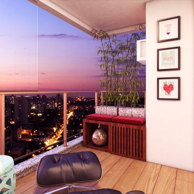 Varanda pequena | Balcony | Interior design | Eames Lounge Chair | Projeto: Luany Campista
