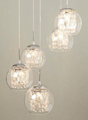 Glass & Crystal Spiral Pendant Chandelier - ceiling lights  -