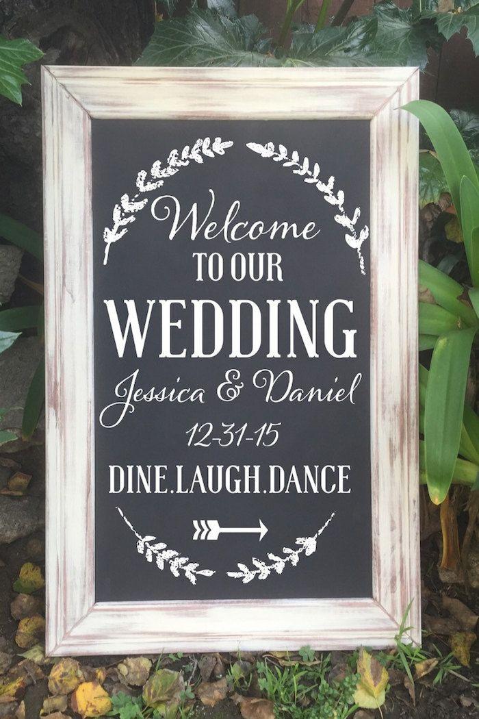 Elegant welcome wedding chalkboard sign by FromKellywithLove via Etsy.  #weddingsigns #chalkboardsign