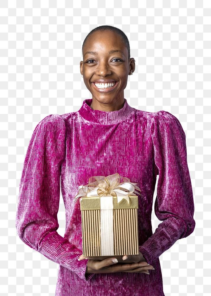 Download Premium Png Of Happy Black Woman Holding A Gift Box Transparent Happy Black Gift Box Black Women