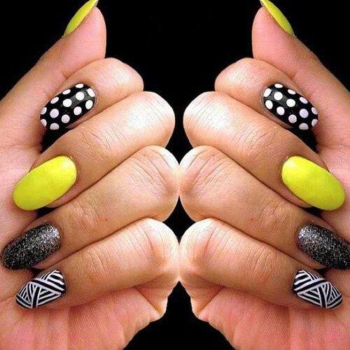 monochrome nails with a splash of colour