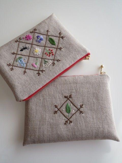 刺繍のフラットポーチ 2x #HandEmbroideryPatterns