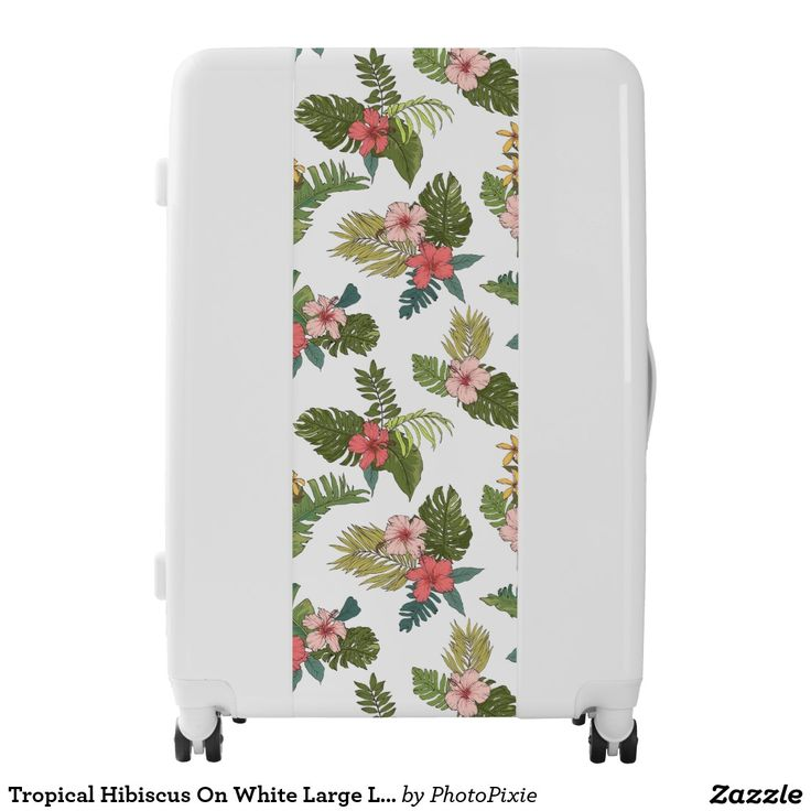 Tropical Hibiscus On White Large Luggage