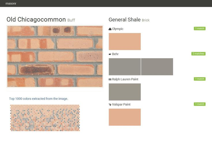 Old Chicagocommon. Buff. Brick. General Shale. Olympic. Behr. Ralph Lauren Paint. Valspar Paint.  Click the gray Visit button to see the matching paint names.