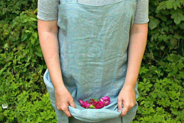 Fartuch lniany Retro Blady niebieski Uniwersalny - LilaLen - Fartuchy