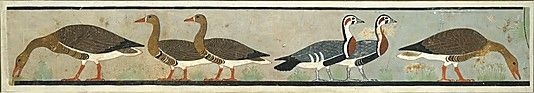 Facsimile Painting of Geese, Tomb of Nefermaat and Itet-  Period: Original: Old Kingdom Dynasty: Dynasty 4 Reign: reign of Snefru Date: ca. 2575–2551 B.C. Geography: Original from Egypt, Memphite Region, Meidum, Tomb of Nefermaat and Itet, outer chapel of Itet Medium: Tempera on paper