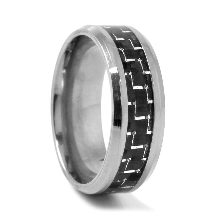 Kulfiber Detalje Titanium Ring - 249,00kr