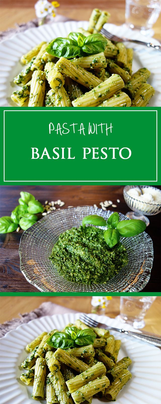 Pasta with basil pesto - a simple & quick recipe for a delicious pesto! Gluten-free, vegetarian & tastes like summer in Italy 🌞❤️ | cucina-con-amore.com