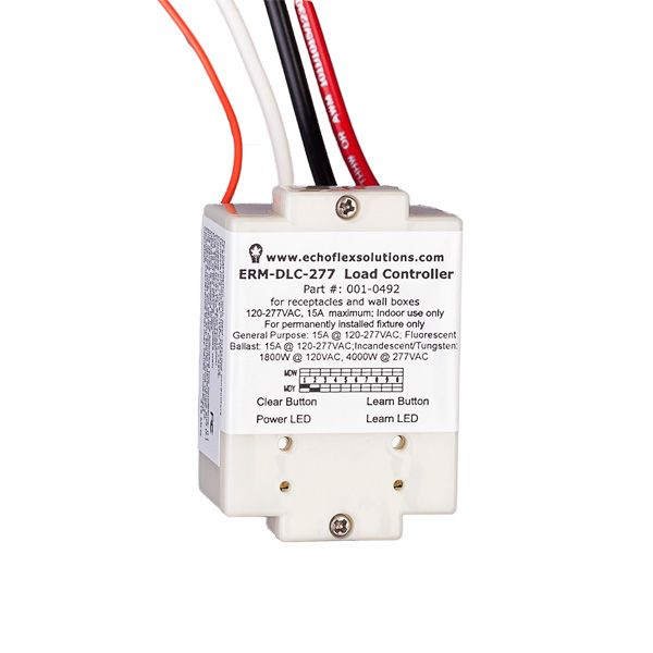 Echoflex's Wireless Load Controller Module is a versatile embedded controller ideal for today's construction retrofit or residential markets.   Versatile voltage ranges including:  – 120-277VAC @15A single channel relay – 90-240VAC @ 15A single channel relay – 24VAC/DC with 3A @ 30VDC single channel relay
