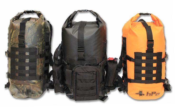 M.O.L.L.E waterproof backpack. Hunting camo, black, orange rescue.