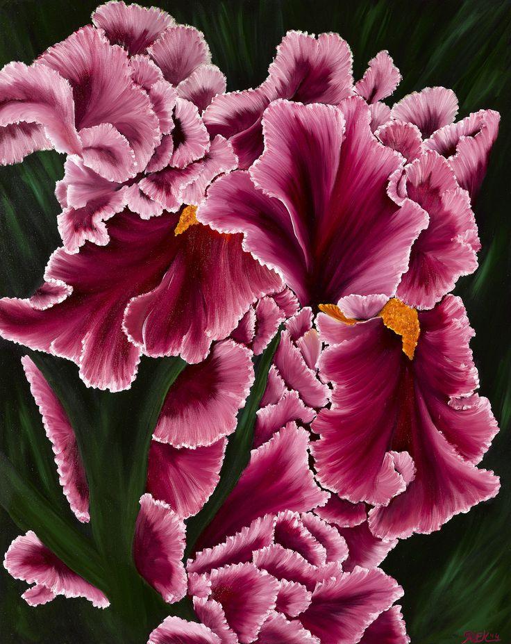 Iris afmeting 80 x 100 cm 3D doek olieverf