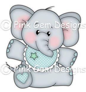 Digi sello Baby Edwin cumpleaños elefante bebé por PinkGemDesigns