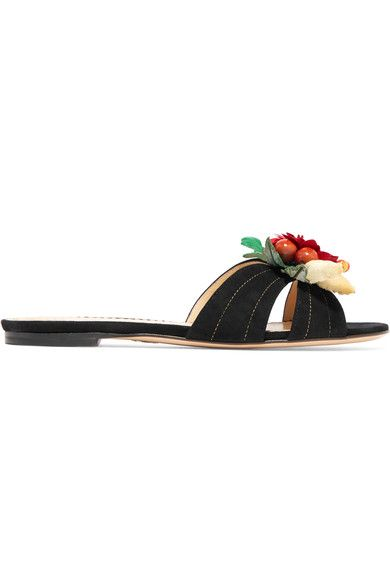 Charlotte Olympia - Tropical Embellished Suede Slides - Black - IT39.5