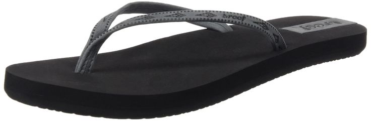Reef Womens Slim Ginger Leather Sandal/Flip Flops/Slipper Footwear, Black/Grey, Size 9. Soft full grain embossed le ather slim strap. Reef-flex triple density EVA construction with. Reef Slim Ginger Leather Sandal/Flip Flops/Slipper Footwear for Women. anatomical arch support with reef emboseed. leather logo | fle xible rubber sponge outsole.