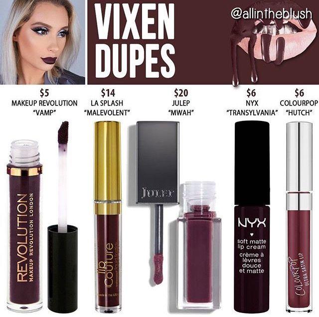Kylie Jenner lip kit dupe Vixen