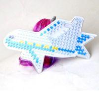 Fusible Pared perforada, Plástico, Avión, 5mm pegboards fusibles de bricolaje & con plantilla de perlas de fusibles & transparente, Blanco, 160x110mm, Vendido por UD