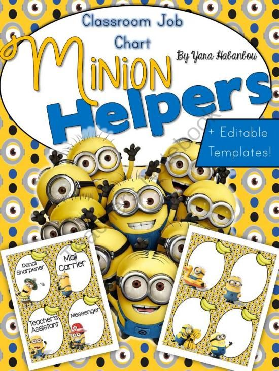 Minion Classroom Helpers Clip Chart ~ Jobs Chart + Editable Tags from SeaofKnowledge on TeachersNotebook.com -  (12 pages)  - Upon several requests - I created this chart to go with any minion-themed classroom decor!  Included: *24 different job cards. *Editable cards so that you could add your own ~ there are 12 editables c