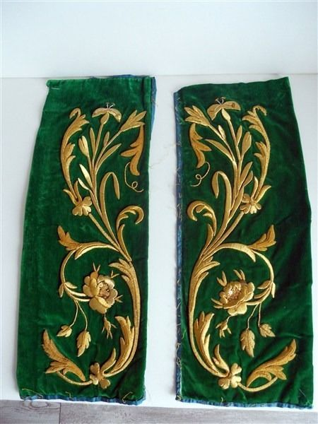 2 ANTIQUE FRENCH STUMPWORK GOLD METALLIC EMBROIDERY 19TH-CENTURY