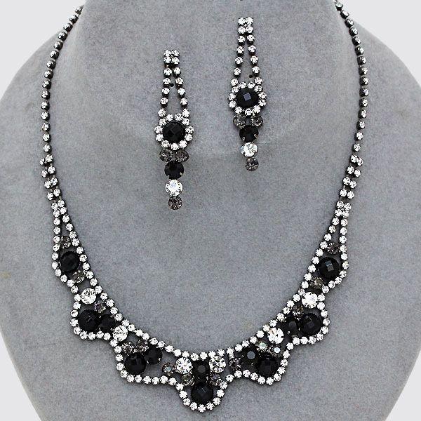 Black Diamond Rhinestone Necklace & Earrings Set (Sparkle-2475-U)