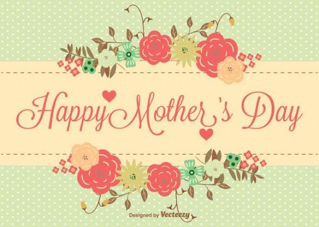 Tarjeta elegante Retro Día de madres feliz | Descargar Vectores gratis
