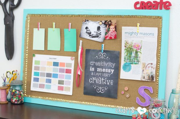 Simple upcycled cork board turned inspiration board for Cork bulletin board ideas