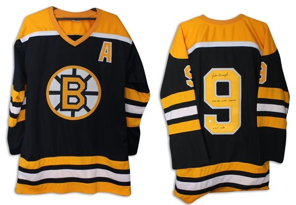 "John Bucyk Boston Bruins Autographed Black Jersey Inscribed """"1970-72 Cups Champs"""" & """"HOF 1981"""" with COA"