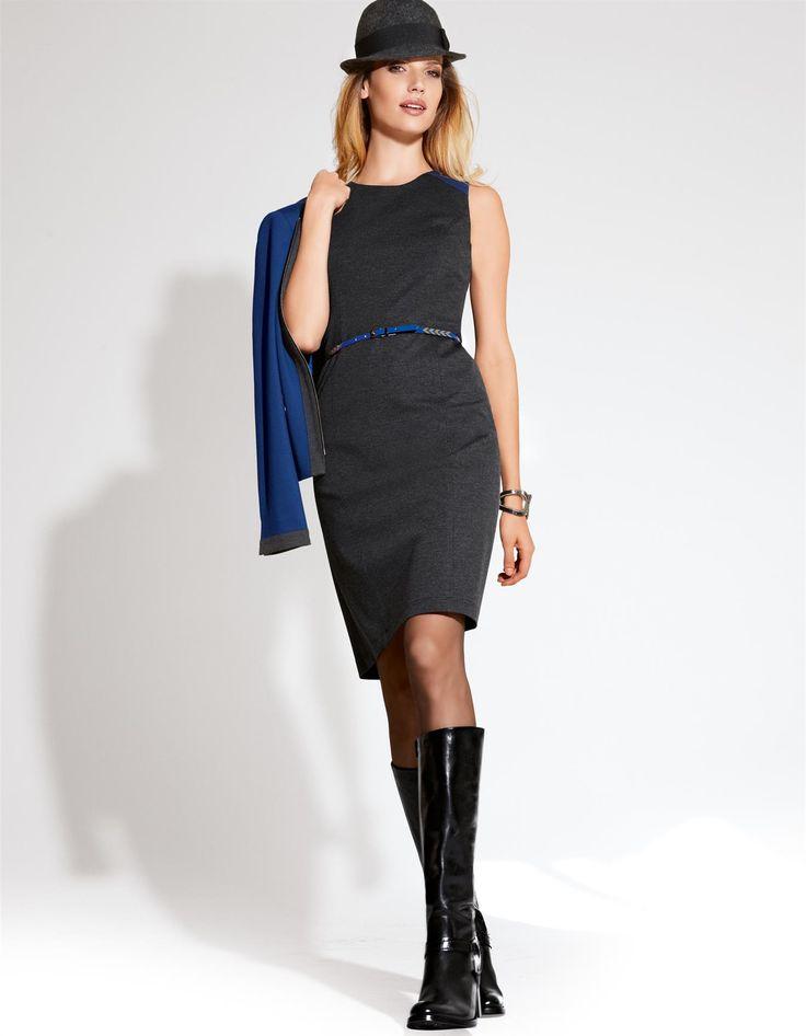 Jersey-Etuikleid mit Kontrasteinsatz in der Farbe anthrazit / royal - royalblau - grau - im MADELEINE Mode Onlineshop