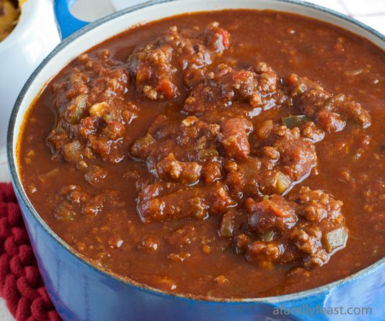 An AMAZING Chili made with tender chunks of beef, pork, beans and vegetables and seasoned with chocolate, beer and brown sugar for some amazing complexity!  So good...