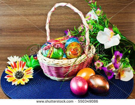 Easter / Happy easter / /basket with Easter eggs and flowers
