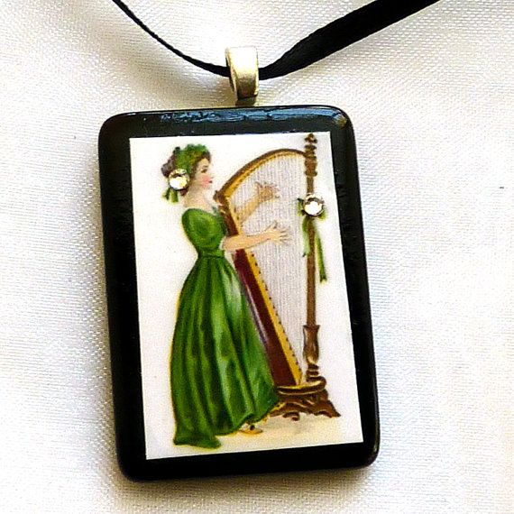 Tile pendants Irish Colleen celtic woman necklace by LDphotography