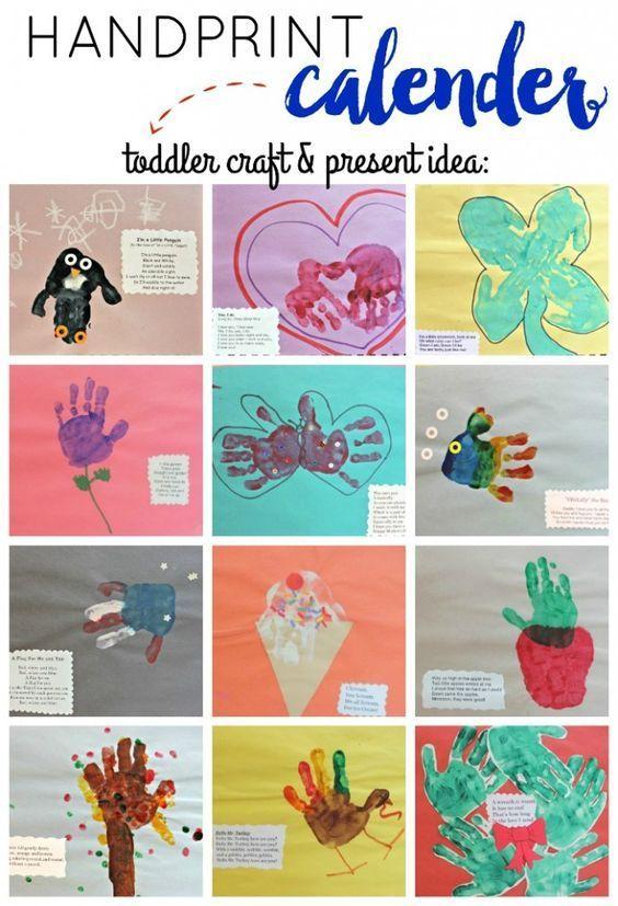 DIY Handprint Calendar. Great toddler / preschooler homemade present idea! | Via View From The Fridge