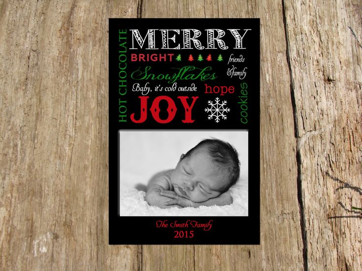 Holiday Photo Greeting Card, Holiday Word Collage by RSVPinvitationsbyme on Etsy