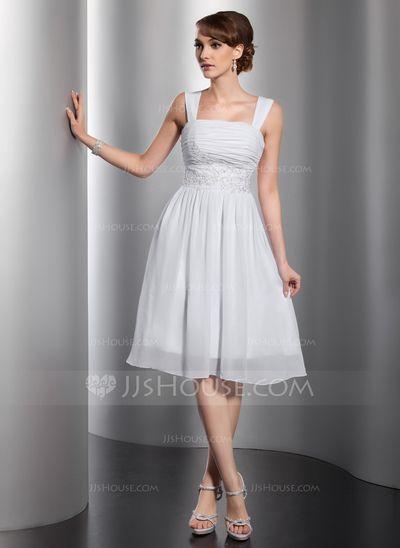 Vestidos princesa/ Formato A Decote quadrado Coquetel De chiffon Vestido de boas vindas com Pregueado Bordado Apliques de Renda (022014801)