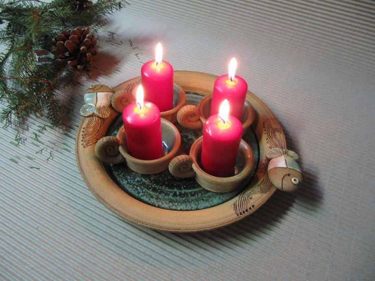 Adventní svícen Talíř průměr 30cm , může sloužit nejen v adventu , můžete ho použít na cokoliv... . Svíčky nejsou součastí výrobku.