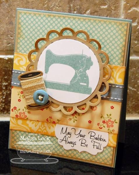Cute card for a sewing friend with a button