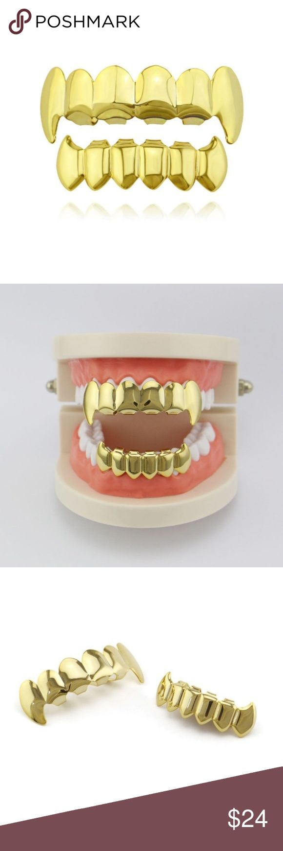 """14k Gold Plated Fangs Grillz Set Hip Hop Jewelry PrimoBling.com """"Quality Hip Hop Jewelry """"  Item Description:  14k 3x Gold Plated Fangs Hip Hop Teeth Grillz Top & Bottom Grill Set  Hip Hop Grillz Have been around for a very long time but are now becoming even more of a trend in the fashion world as well as the urban community   Item Specifics:  100% Brand new & High quality Material: Brass Color:14k Gold Plated  Size: One Size Fits All Package Includes: 1 pair of 6 row Grillz (Top and…"""