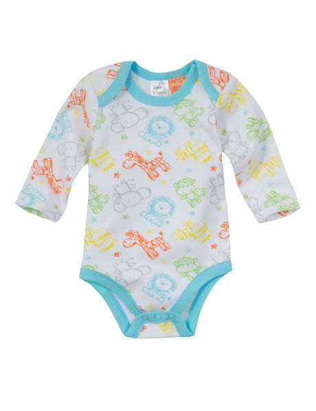 Made from 100% cotton, this long-sleeved bodysuit has an all-over animal print with trim detail.