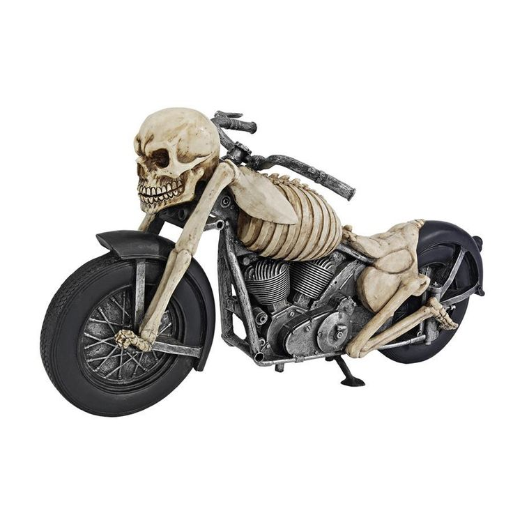 "This ghost rider puts the hammer down on this old school chopper and gets ready to rip it up! Created by celebrated artist Liam Manchester, this collectible fat engine design features roaring V-twin motors cast in quality designer resin and hand-painted in bone chillin' accuracy. When you share this skeleton statue, he s guaranteed to keep the shiny side up! 15""Wx5½""Dx7½""H. 4 lbs."