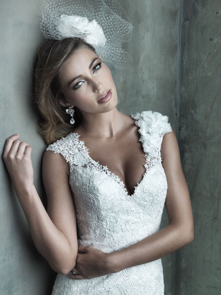 Allure Couture C287 - This classic bridal silhouette features contour straps and a floral detail at the shoulder, while the open keyhole back leads to a trailing lace appliqué skirt. Vintage Style Bridal Gowns | Brides of Melbourne